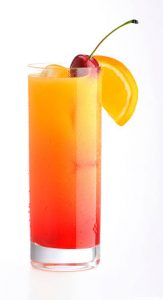 A tequila sunrise cocktail.