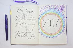 A quote for the new year and a colorful mandala