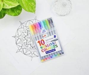 pack of 10 staedtler triplus fineliners