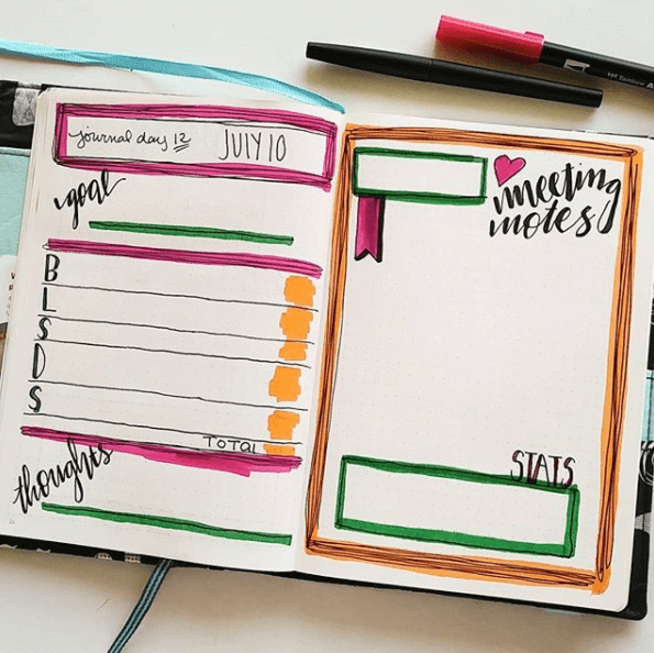 Bullet journal fitness journal