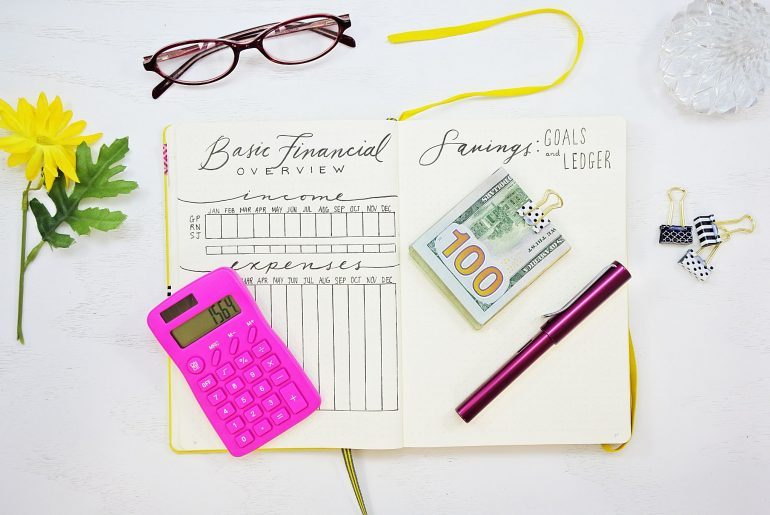 Financial tracker bullet journal
