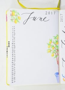 june calendar bullet journal