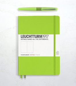 Leucchtturm 1917 dotted in lime green and a green Pilot Metropolitan fountain pen.