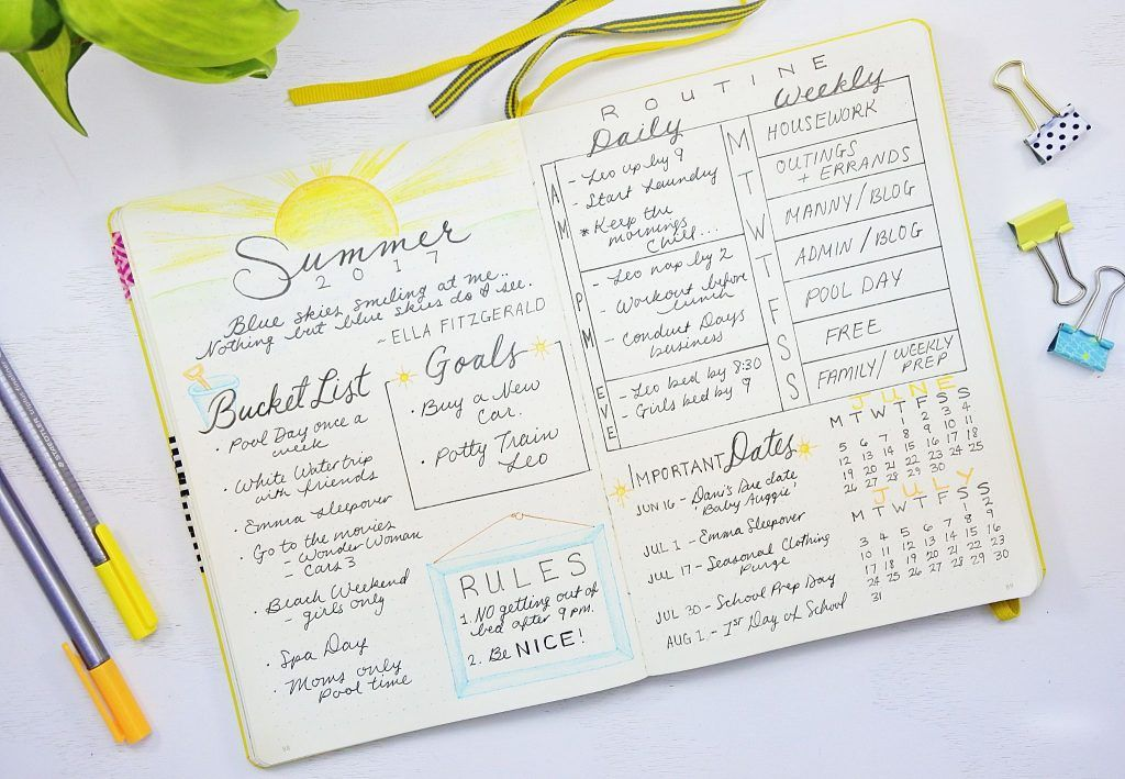 summer plan bullet journal