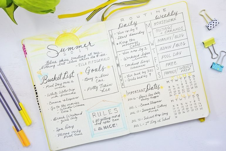 summer planning bullet journal