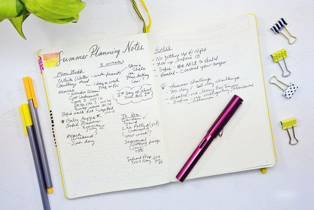 summer planning notes bullet journal