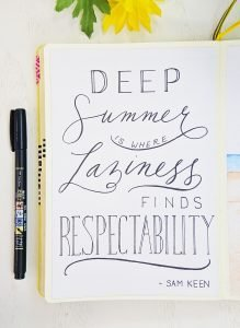 sam keen summer quote calligraphy