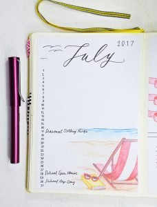 july calendar bullet journal