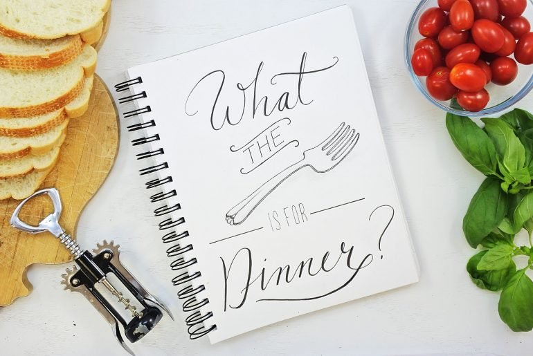 Whats for dinner calligraphy typography