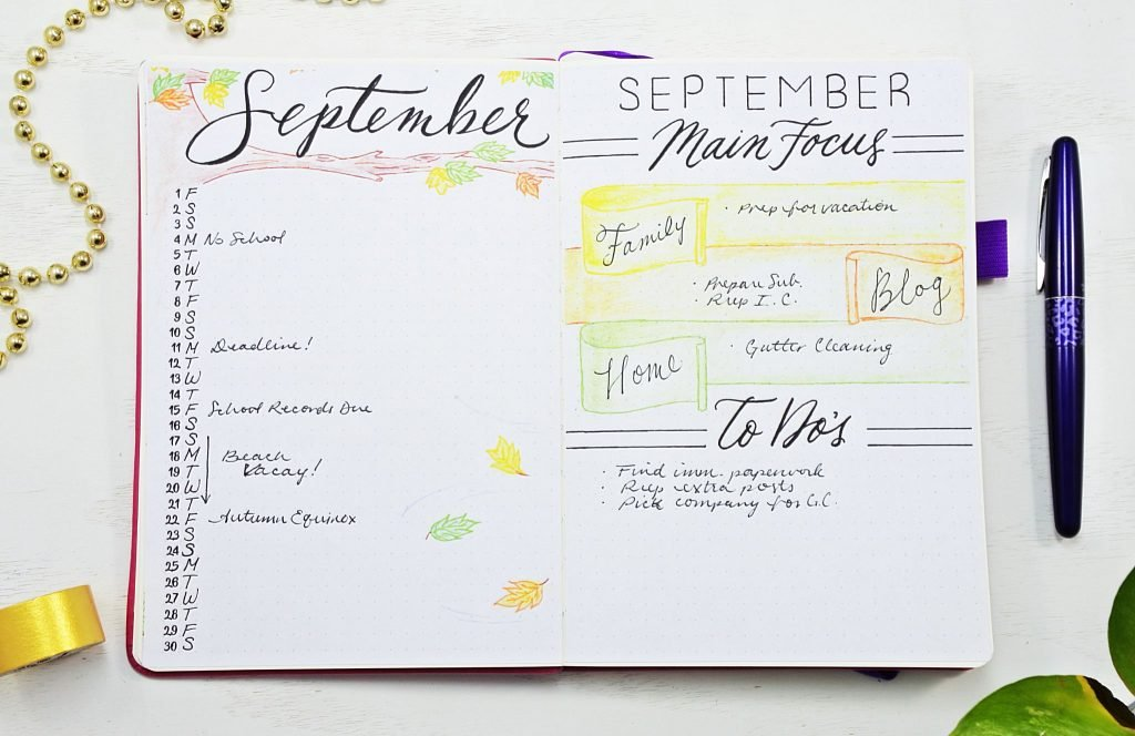 Bullet Journal monthly spread - how to start a Bullet Journal