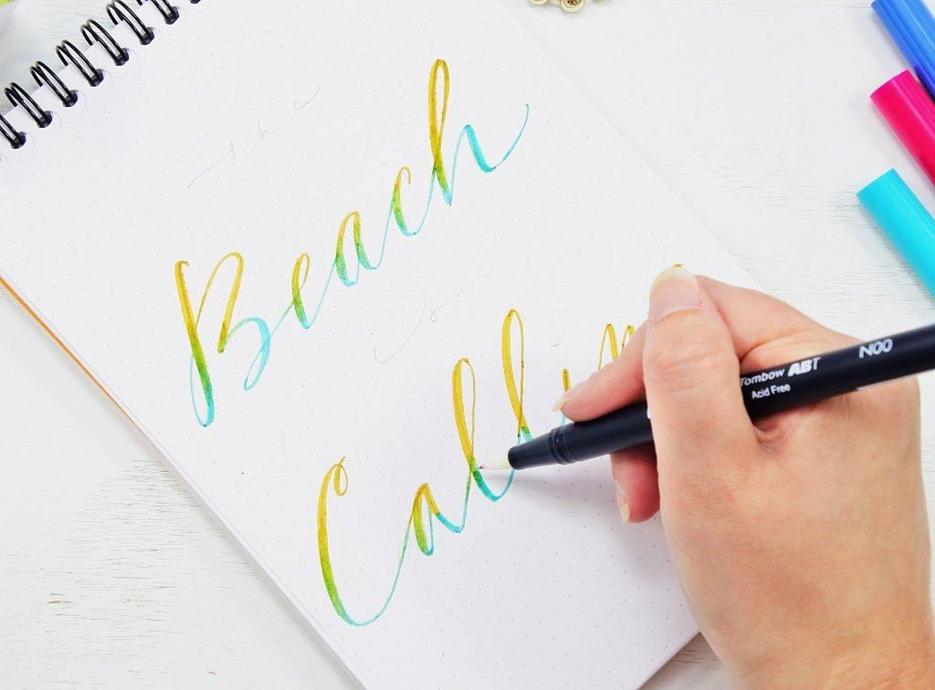 tombow blender ombre hand lettering