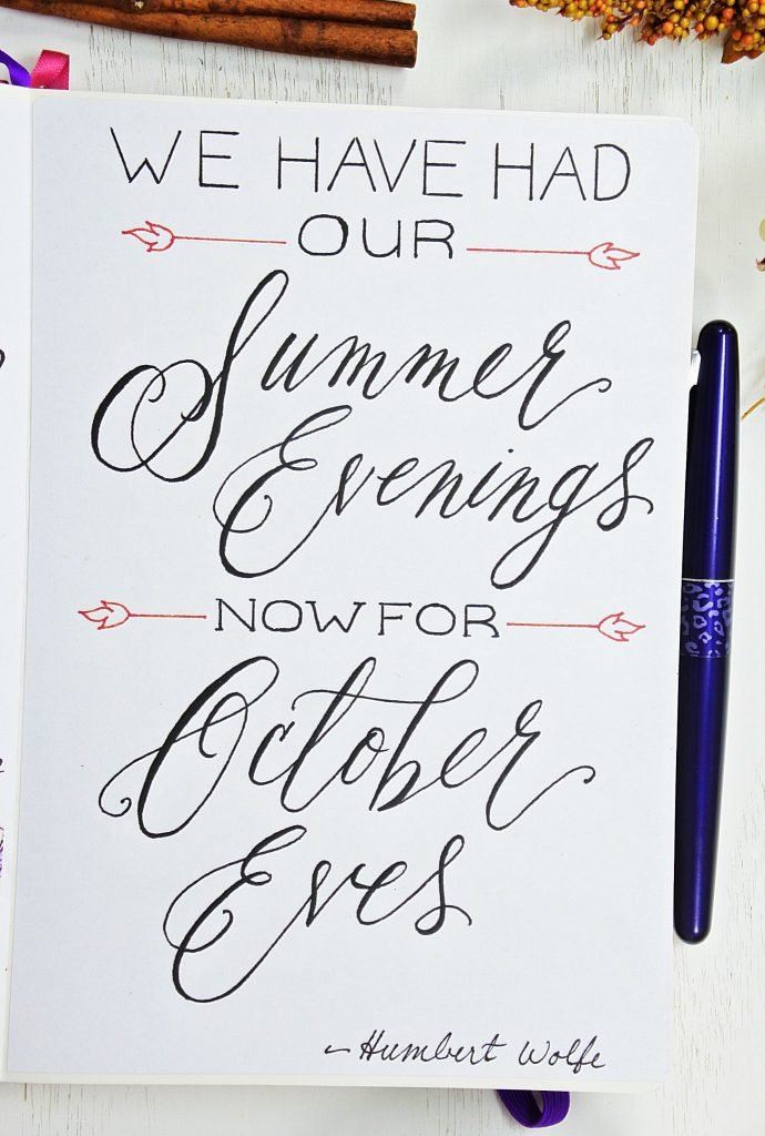 October monthly quote bullet journal