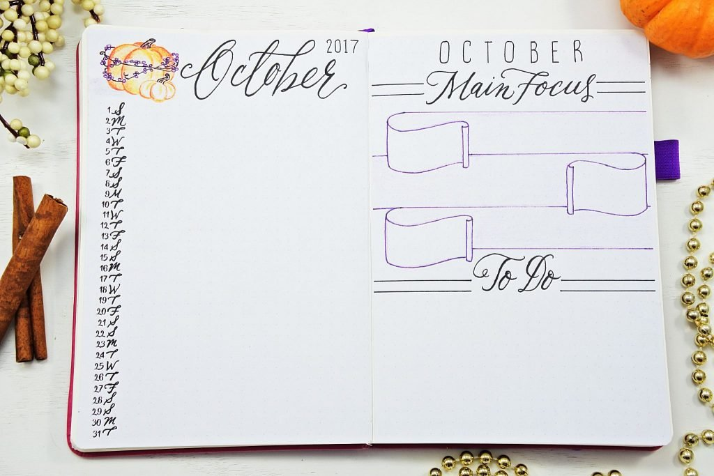 october monthly spread bullet journal