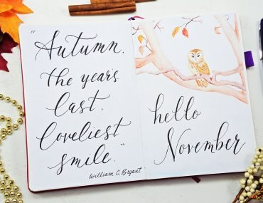 watercolor November hello page bullet journal