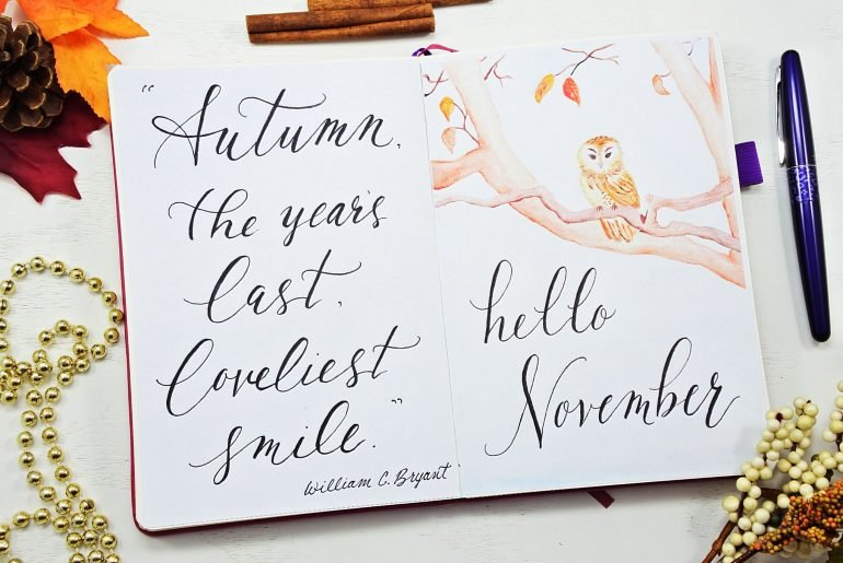 watercolor November hello page bullet journal
