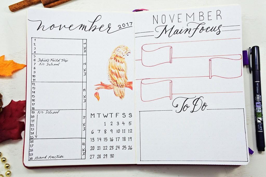 Bullet Journal monthly spread November