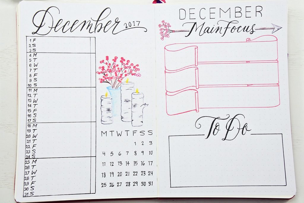 Monthly calendar tasks goals bullet journal