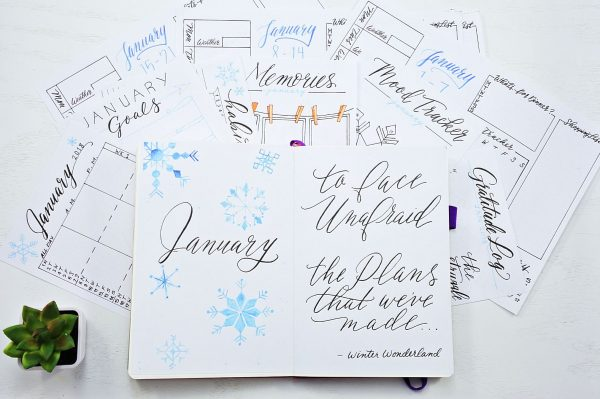 January bullet journal printable , monthly spread