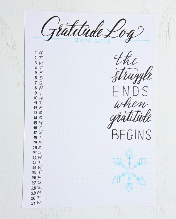 gratitude log bullet journal