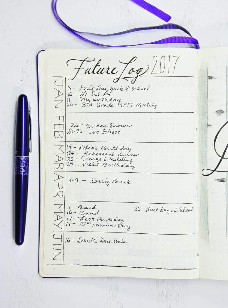 Sheena of the Journal Bullet Journal Future Log 2017