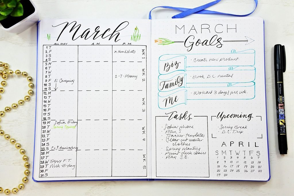 Rare image inside bullet journal monthly spread printable