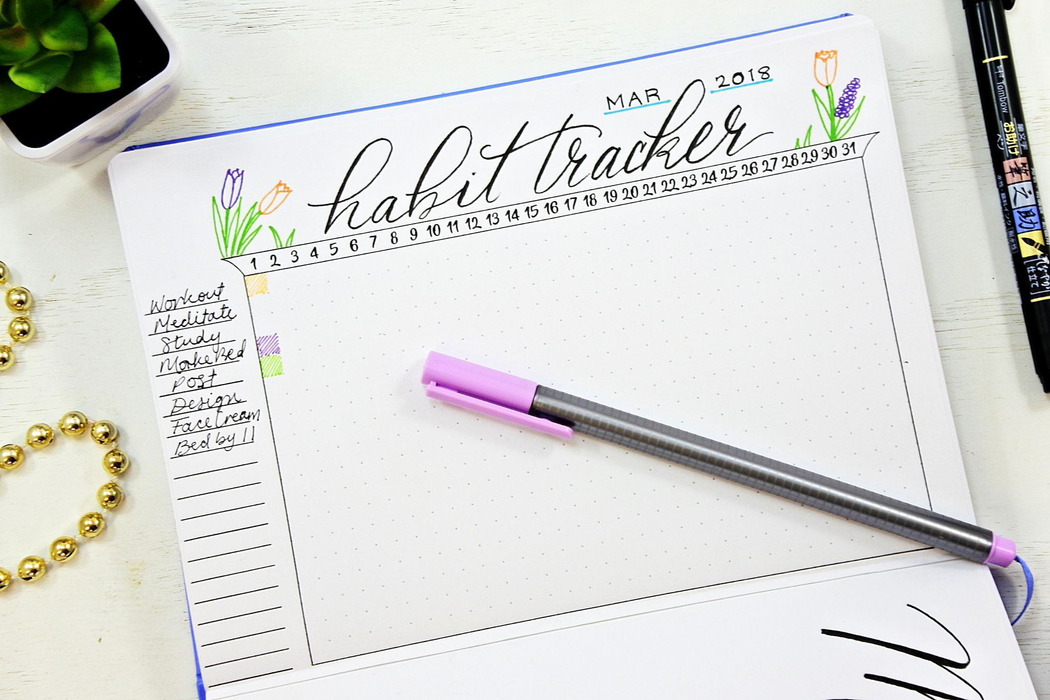photograph about Bullet Journal Habit Tracker Printable referred to as How towards Variance Your Patterns with a Bullet Magazine ⋆ Sheena of
