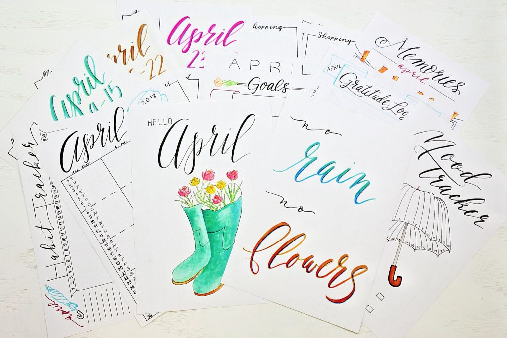 april bullet journal printables