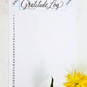 Printable gratitude log for a bullet journal or planner.