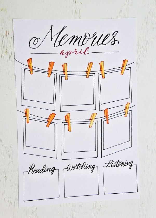 Printable memories page for your bullet journal