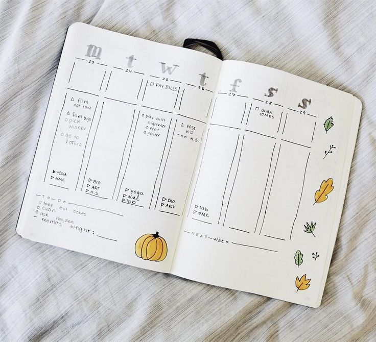 over 20 easy bullet journal weekly spread ideas
