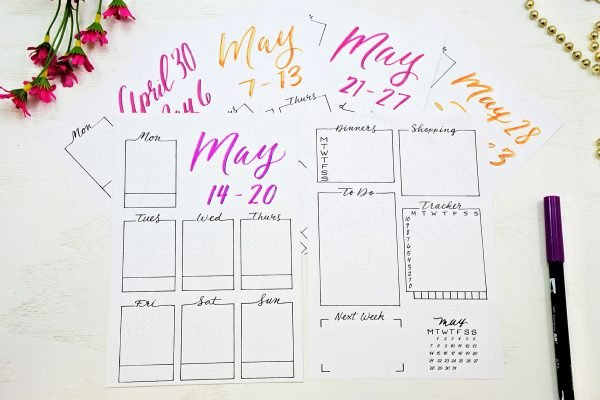 bullet journal weekly spreads printable