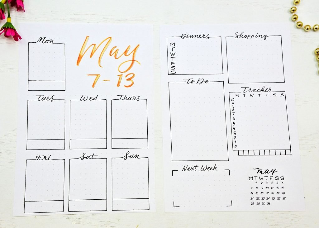 bullet jouranl weekly spread printable