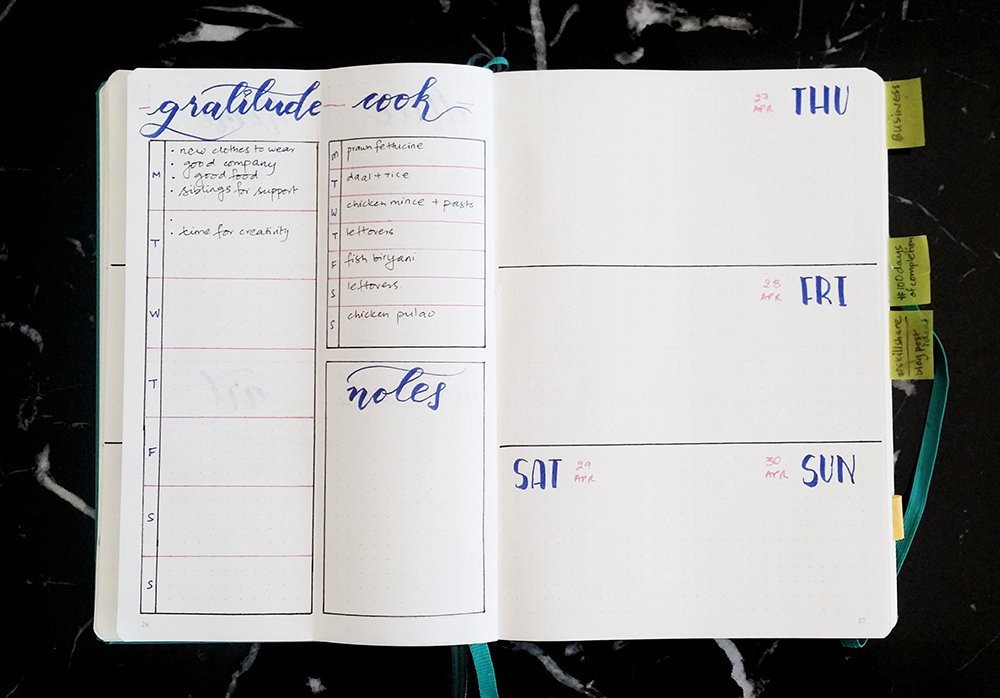 bullet journal weekly spread