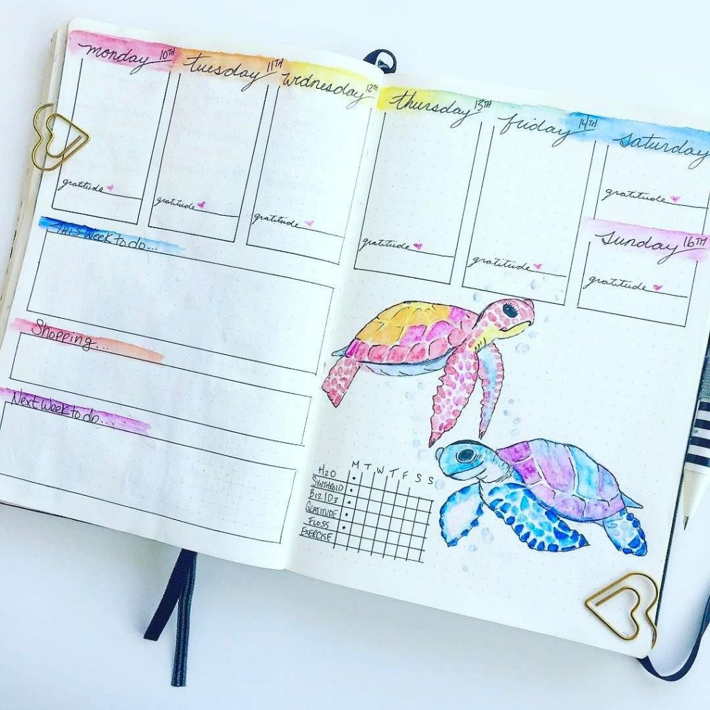 Colorful bullet journal weekly spread with watercolor sea turtlesQ