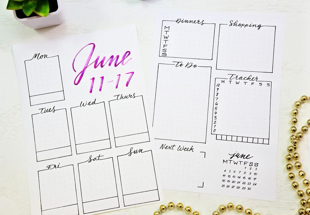 printable bullet journal weekly layout