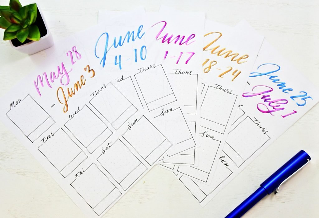 june weekly spreads