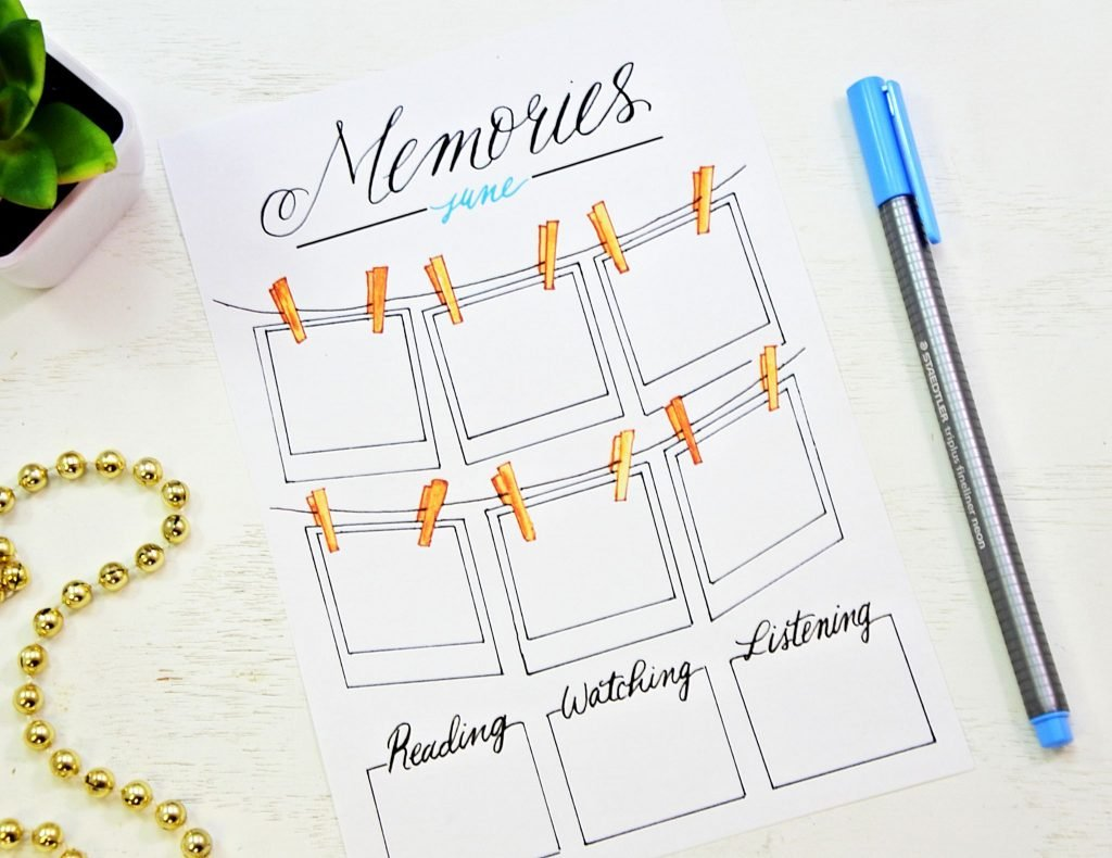 memories apread in a bullet journal printable