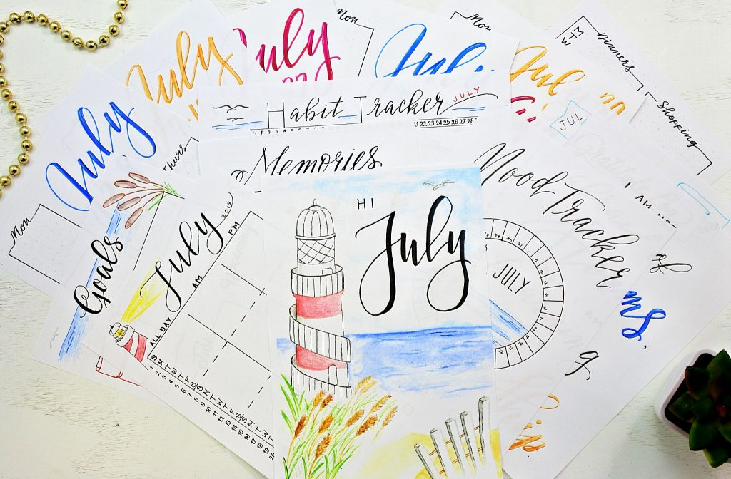 Bullet Journal printables for july