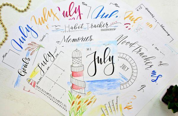 Bullet Journal printables for july