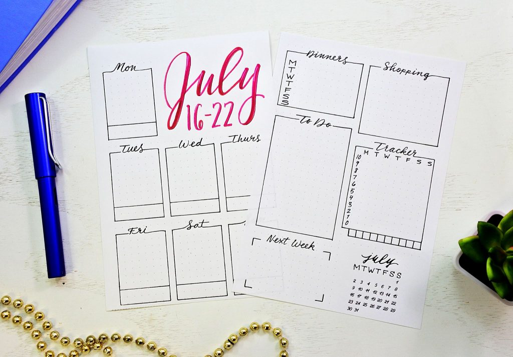 printable bullet journal weekly spread