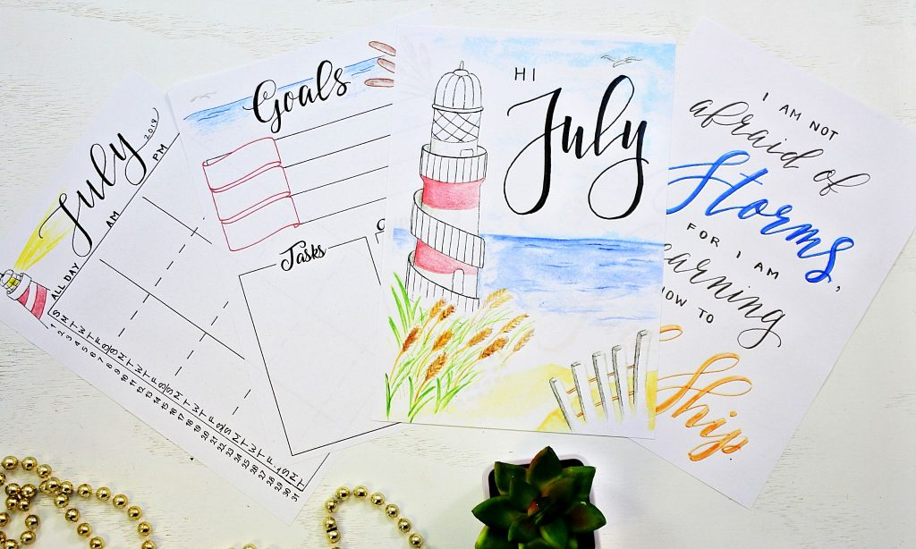 printable bullet journal setup for july