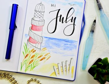 bullet journal cover page for july