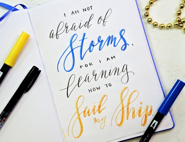 hand-lettered calligraphy quote for your bullet journal