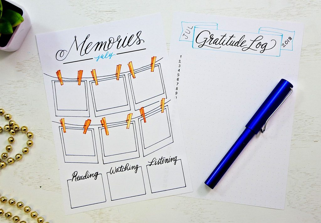 printable memories and gratitude log
