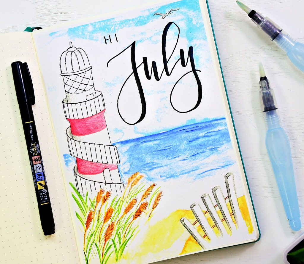 hello july bullet journal cover page