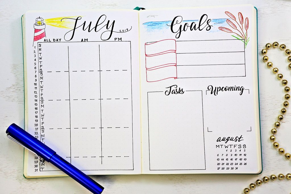 printable bullet journal calendar and goals worksheet
