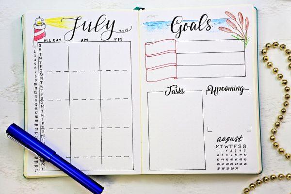 printable bullet journal calendar and goals worksheet