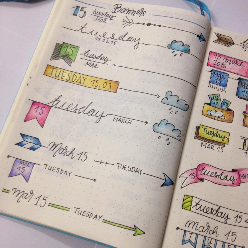 Bullet Journal header and banner ideas!