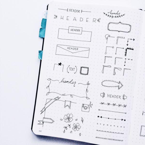 30+ Easy Bullet Journal Header Ideas with Tutorial
