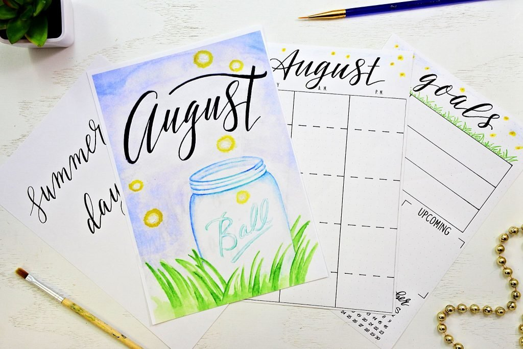 FreeBullet Journal printables for August